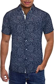 Mens Slim Fit Short Sleeve Button Down Polo Tech Stretch Printed Oxford Shirt