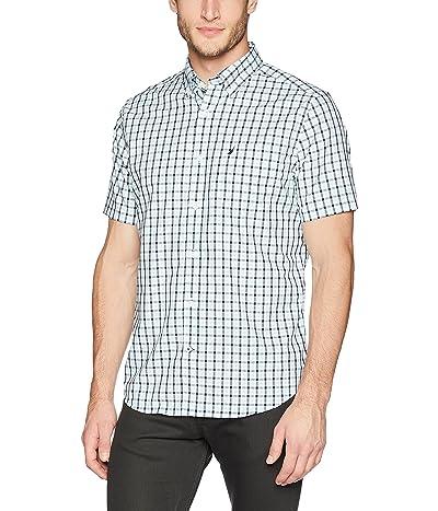 Nautica Wrinkle Resistant Short Sleeve Plaid Button Front Shirt