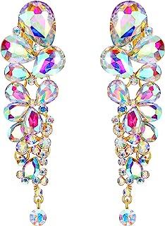 EVER FAITH Women's Austrian Crystal Gorgeous Tear Drops Wedding Dangle Clip-on Earrings