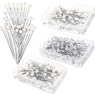 Tongcloud 300pcs Flower Pins Corsages Pins Pearl Pins Head Pins Straight Pins Bouquet Pins Crystal Pins for Weddings Anniversary Flower Decoration Centerpieces 3 Styles (Transparent and White, 2'')