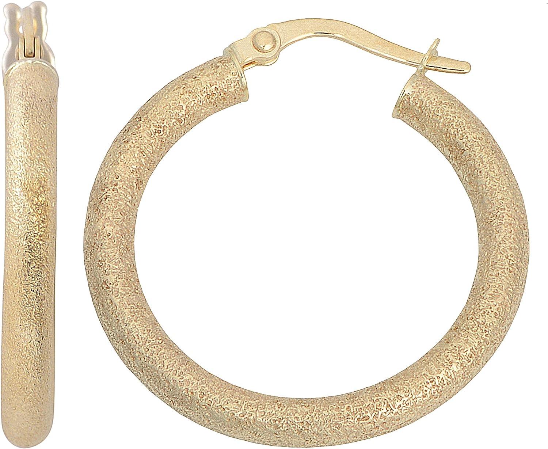 Kooljewelry 10k Yellow Gold 3x20 Direct sale Max 79% OFF of manufacturer mm Finish Hoop Glass Earr Blast