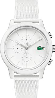 Lacoste Mens White Quartz Watch, Chronograph Display and Silicone Strap 2010974