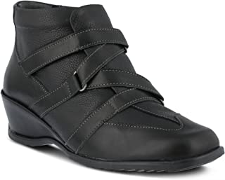 Women's Spring Step Allegra | Color Black | Women's European Leather Combination Pull-on Wedge Bootie