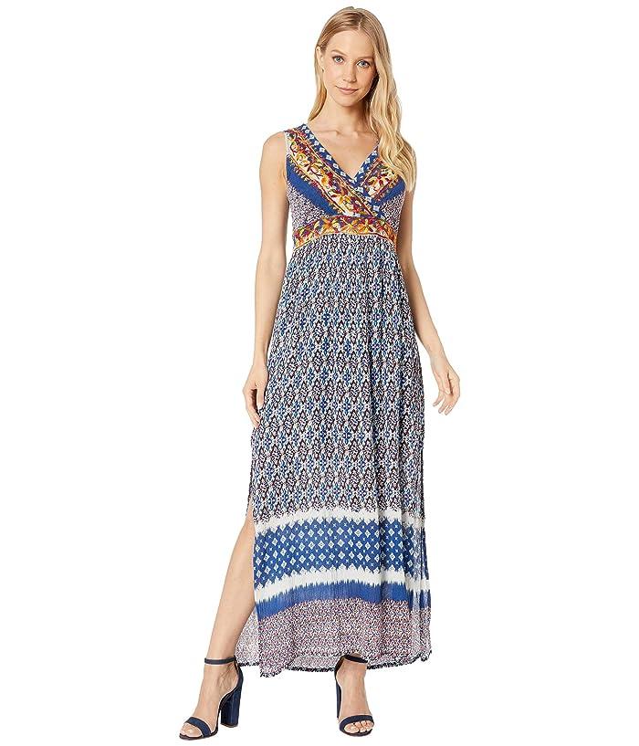Miss Me Geo Print Floral Embroidered Slit Maxi Dress