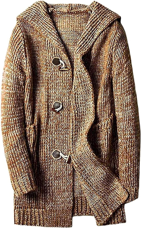 Men's Autumn Horn Button Up Sweater Cardigan Knit Knitwear Jacket Coat