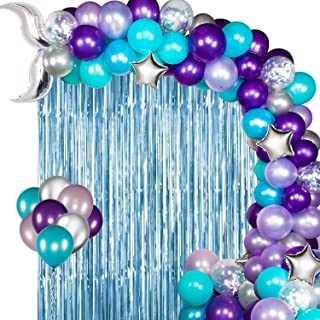 JOYYPOP Mermaid Balloon Garland Kit with Light Blue Foil Fringe Curtain, Mermaid Tail Foil Balloons for Mermaid Ocean Them...