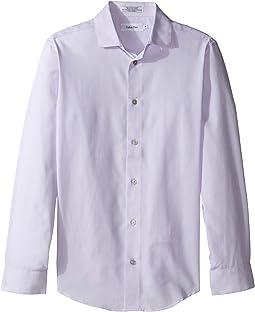 Honeycomb Solid Texture Long Sleeve Shirt (Big Kids)