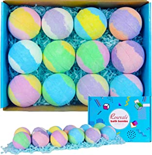 Rosevale Organic Bath Bombs, 12X5oz Bath Bombs Set, Relaxing Gifts for Women, Natural Shea& Coco Butter Dry Skin Moisturize, Birthday Gifts for Her, Girfriend