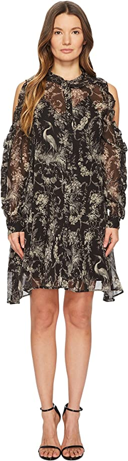 Loose Birdy-Print Dress in Silk