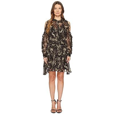 The Kooples Loose Birdy-Print Dress in Silk (Black) Women