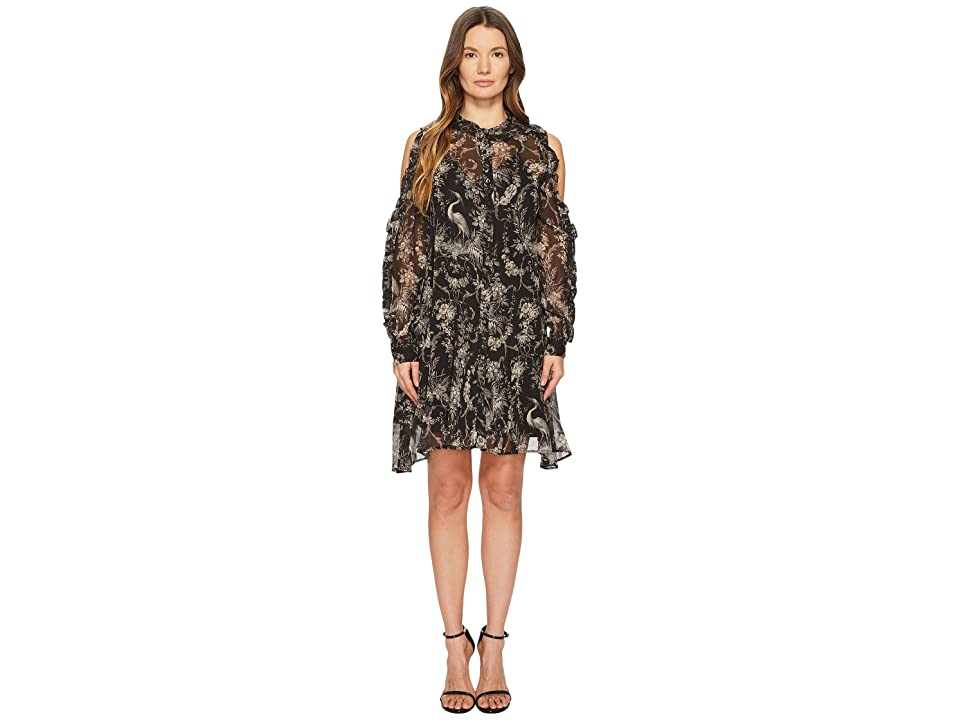 The Kooples Loose Birdy-Print Dress in Silk (Black) Women