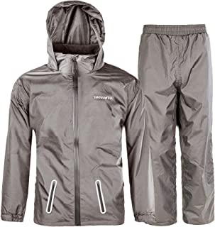 SWISSWELL Rain Suit for Kids Waterproof Hooded Rainwear (Jacket & Trouser Suit)