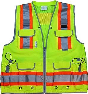 Vero1992 Reflective Vest Class 2 Heavy Woven Two Tone Engineer Hi Viz Safety Vest 3M 8712 Tape
