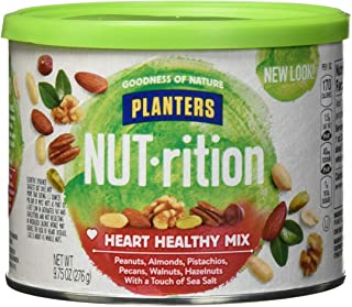 NUT-rition Heart Healthy Nut Mix (9.75 oz Canister, Pack of 3) - Variety Nut Mix with Peanuts, Almonds, Pistachios, Pecans...