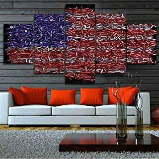 Abstract America Flag Pictures for Living Boys Room Decor USA Bullets Paintings 5 Piece Canvas Wall Art Modern Artwork Home Decoratiosns Wooden Framed Gallery-Wrapped Ready to Hang(60''Wx32''H)