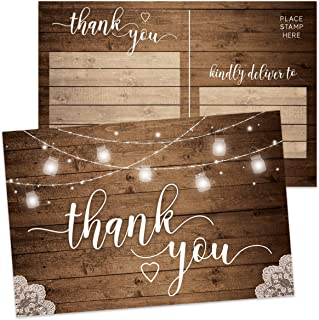 Rustic Thank You Postcards, Set of 50, Double-Sided Thank You Cards for Weddings, Birthday Celebrations, Retirement Parties