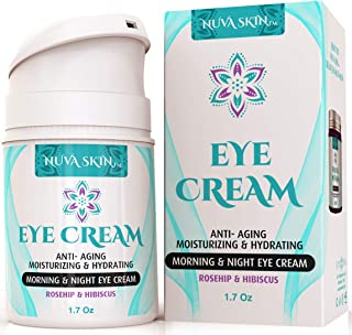 Nuva Skin Eye Cream with Rosehip & Hibiscus for Appearance of Fine Lines, Wrinkles, Dark Circles, and Bags - Intensive Anti-Aging Cream for Under and Around Eyes - 1.7 fl oz