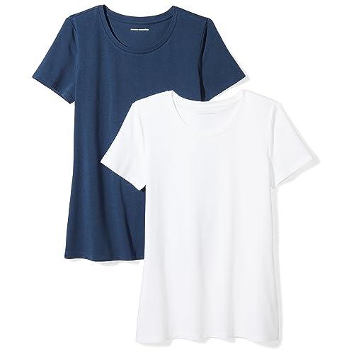 055db9d7 Amazon Essentials Women's 2-Pack Short-Sleeve Crewneck T-Shirt