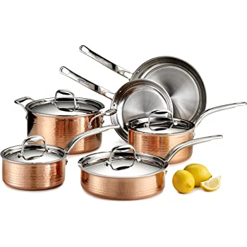 Lagostina Martellata Hammered Copper 18/10 Tri-Ply Stainless Steel Cookware Set, 10-Piece, Copper