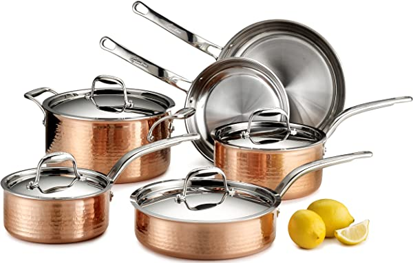 Lagostina Martellata Hammered Copper 18 10 Tri Ply Stainless Steel Cookware Set 10 Piece Copper