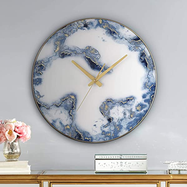 River Parks Studio Ainsdale Blue And White 17 3 4 Round Marble Wall Clock