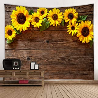 Wooden Board Sunflower Flower Print Fabric Tapestry Decor Wall Art Tablecloths Bedspread Picnic Blanket Beach Throw Tapestries Colorful Bedroom Hall Dorm Living Room Hanging 91 x 71 inches
