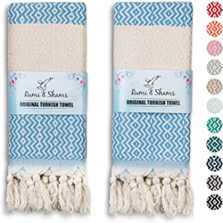 RUMI & SHAMS Turkish Hand Towels for Bathroom | 100% Cotton Farmhouse Hand Towels | 2 Pcs Decorative Towels for Bathroom |...