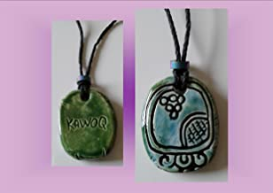 Mayan KAWOQ Necklace Mesoamerican Tzolk'in Day Sign Thunder Glyph Ceramic Amulet Turquoise Green Clay Pendant