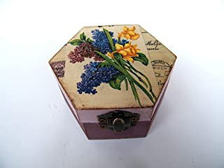 Cajita de madera Joyero floral, Lila y Daffodil, Elegante Caja de Almacenamiento para Mujer, Hecha a mano 9x8x5cm