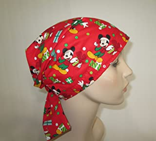 Christmas Mickey Mouse Scrub Cap Chemo Hat Alopecia Head Cover Cancer Scarf