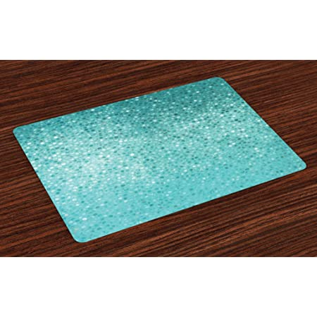 ABAKUHAUS Saluto Giapponese Tovaglietta Americana Set di 4 Aquatic turbinii Grigio Blu Crema Tovagliette in Tessuto Lavabile per Tavolo da Pranzo Cena