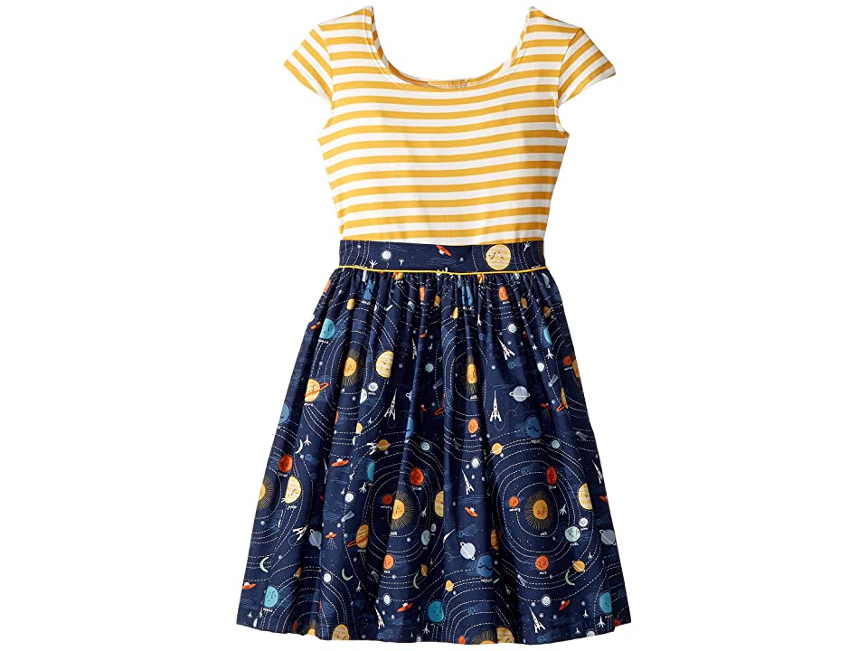 fiveloaves twofish Space Maddy Dress (Big Kids) (Navy) Girl