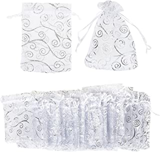 Juvale 120 Pack Organza Gift Bags - Drawstring Organza Bags, Mesh Favor Bags for Decoration, Wedding Gifts, Special Occasions, Party Favors, Silver - 3.5 x 4.75 Inches