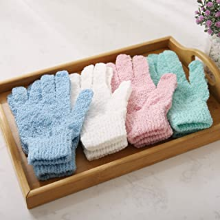 Deconovo Exfoliating Stretch Hydro Durable Deep Cleansing Shower Scrub Exfoliation Glove for Women and Men, Blue/white/pin...