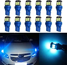 YaaGoo Compact Small bulb License Plate Lights Lamp,T10 168 194 2825 W5W,ice blue,12pcs