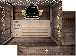 Cheers and Beers Birthday Country Rustic Fill in Set of 20 Invitations & envelopes 30 Years 40 Years 50 Years Adult Party All Occasion Fill in invites