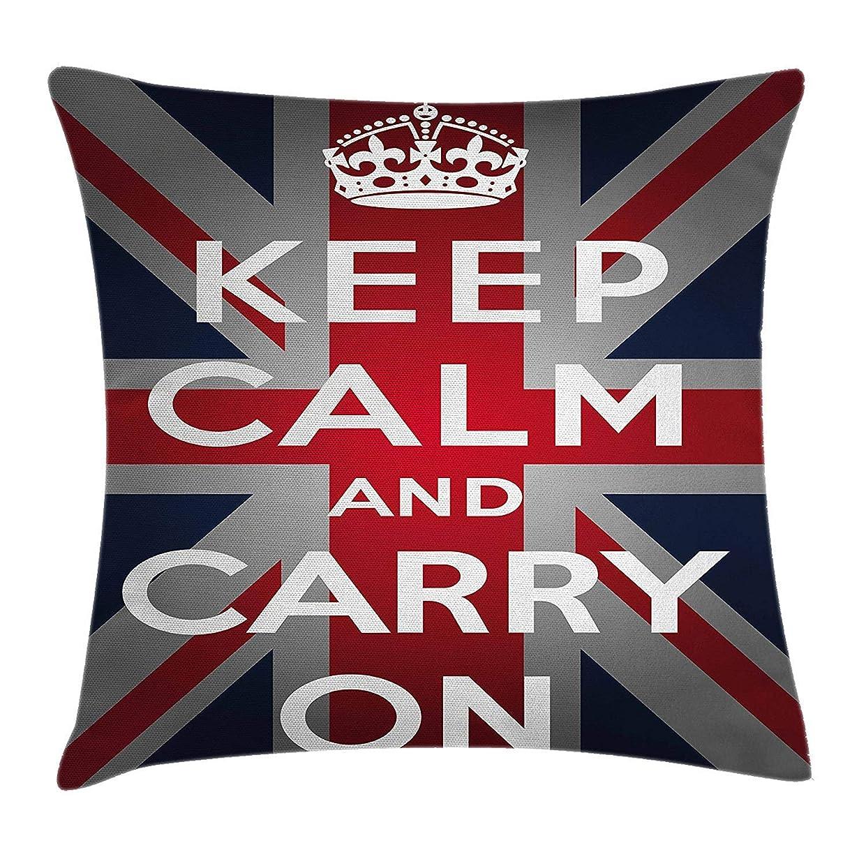 下に向けます特異な水平Union Jack Throw Pillow Cushion Cover, Keep Calm and Cary On Quote Crown Figure United Kingdom Britain Flag, Decorative Square Accent Pillow Case, 18 X 18 inches, Navy Blue Red White