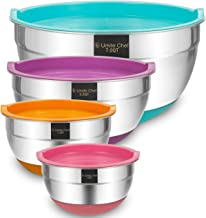 Stainless Steel Mixing Bowls with Airtight Lids, 4 Piece Large Colorful Non-Slip Nesting Bowls by Umite Chef, 7-3.5-1.5-1 Quart, Polished Mirror Finish for Mixing Cooking Supplies