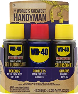 WD-40 Handyman Trio [Travel-Size] – (3) Pack Mini-Can Lubricant Kit with Original Multi-Use,Spray and Stay Gel Lubricant, Water Resistant Silicone