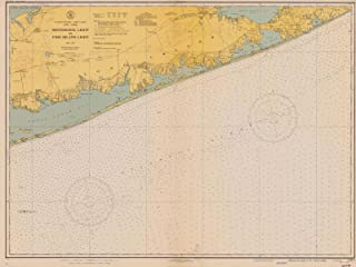 Map - Shinnecock Light To Fire Island Light, 1940 Nautical NOAA Chart - New York (NY) - Vintage Wall Art - 44in x 33in