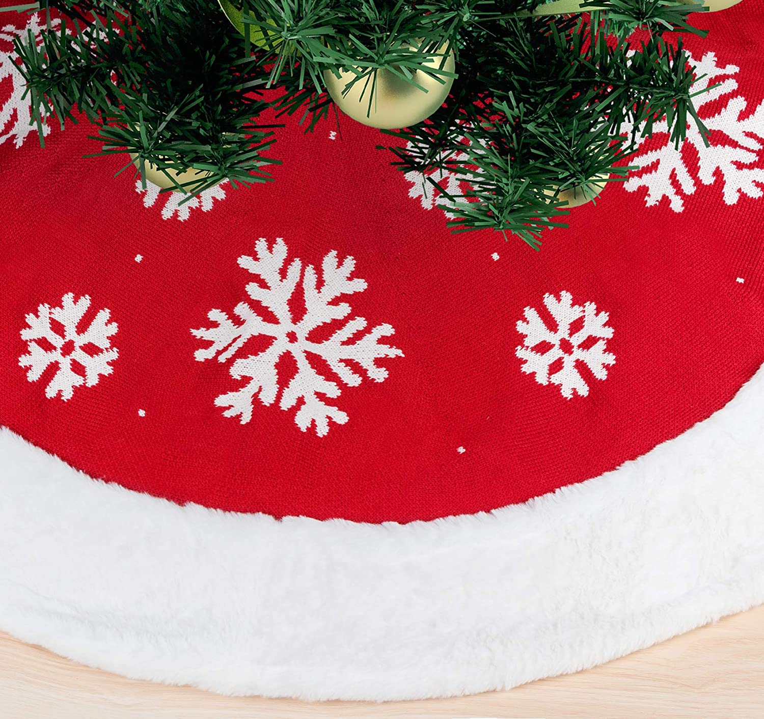 ABSOFINE Selling and selling Tampa Mall Snowflakes Christmas Knitted Tree Rustic 48 Inch Skirt