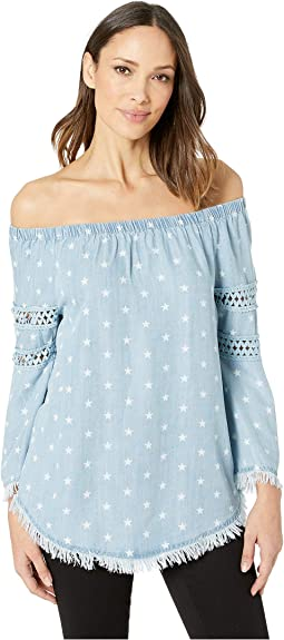 Printed Lyocell Denim On and Off Shoulder Top
