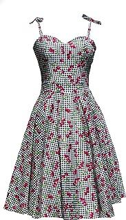 Cherry Gingham Black & White Plaid Swing Dress