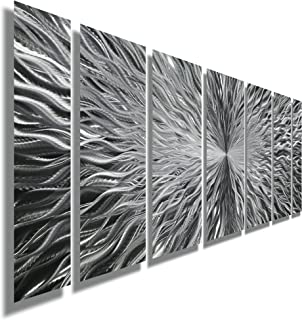 Silver Contemporary Metal Wall Art - Abstract Home Decor Accent, Modern Panel Wall Art - Vortex by Jon Allen