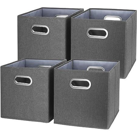 TYEERS Lot de 4 Boîte de Rangement Lavable Pliable Cube de Rangement en Tissu Ouvert avec Poignée pour Armoire Bibliothèque Etagères Placard Bureau Livres Vêtement Jouets Lego CD Peluche - Noir