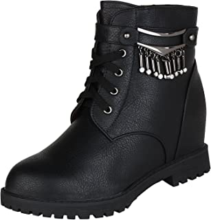 AUTHENTIC VOGUE Women's Styling Laces-Up Ankle- Length Pure Leather Boots in Black Colour (3 Inch Hidden Wedge Heel)