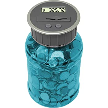 Teacher's Choice Digital Coin Counter Pennies Nickles Dimes Quarter Savings Jar   Transparent Blue Coin Bank w/ LCD Display