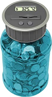 Teacher's Choice Digital Coin Counter Pennies Nickles Dimes Quarter Savings Jar | Transparent Blue Coin Bank w/ LCD Display
