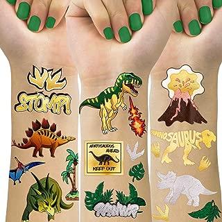 Dinosaur Temporary Tattoos For Kids, 4 Sheet Dinosaur Tattoos For Dinosaur Birthday Party Supplies Favors