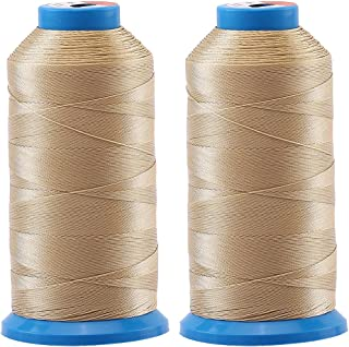 Selric 3000 Yards/Coated/No Unravel Guarantee/21 Colors Available Pack of 2 Heavy Duty Bonded Nylon Threads #69 T70 Size 210D/3 for Upholstery, Leather, Vinyl, and Other Heavy Fabric (Khaki)